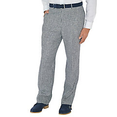 Navy Check Pure Linen Flat Front Pants $40.00 AT vintagedancer.com