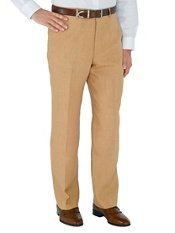 Brown Solid Pure Linen Flat Front Pants