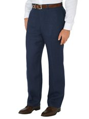 Navy Solid Pure Linen Flat Front Pants