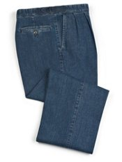 Cotton Denim D-Ring Waist Pleated Front Pants