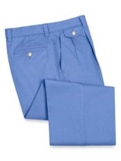 Washed Cotton Chino Pleated Front Pants