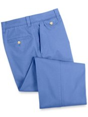 Washed Cotton Chino Flat Front Pants