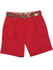 Washed Cotton Chino Pleated Front Shorts