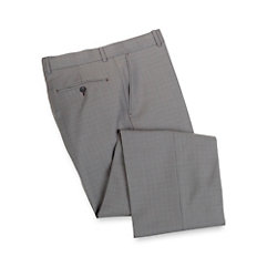 Wool Check Flat Front Pants