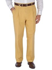 Solid Cotton Dressy Chino Pleated Pants