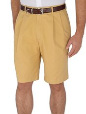 Solid Cotton Dressy Chino Pleated Shorts
