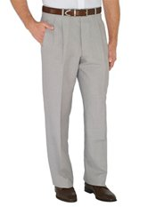Solid Linen & Cotton Pleated Pants