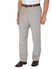 Solid Linen & Cotton Flat Front Pants