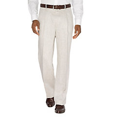 1930s Style Men's Pants Linen Patterned Pleated Pants $55.00 AT vintagedancer.com