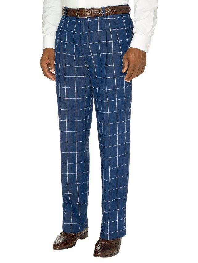 Linen Patterned Pleated Pants | Paul Fredrick