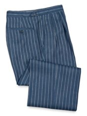 Striped Linen Pleated D-Ring Trousers