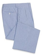 Cotton Seersucker Check Pleated Pants