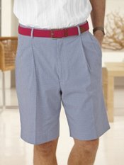 Cotton Seersucker Check Pleated Shorts