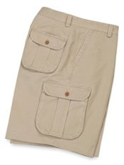 Washed Cotton Flat Front Cargo Shorts