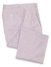 Cotton Seersucker Stripe Pleated Pants