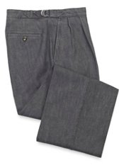 Cotton Denim Pleated D-Ring Pants