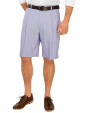 100% Cotton Oxford Pleated Shorts