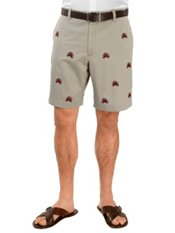 100% Cotton Chino Embroidered Flat Front Shorts