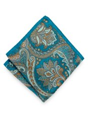 Italian Paisley Printed Silk Pocket Square