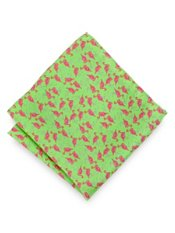 Italian Flamingo Motif Printed Silk Pocket Square