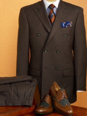100% Wool Stripe Double Breasted, Peak Lapel Suit