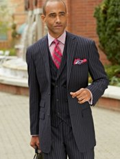 100% Wool Stripe Two-Button Notch Lapel Suit