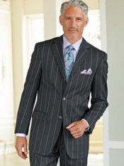 100% Wool Wide Stripe Three-Button Notch Lapel Suit