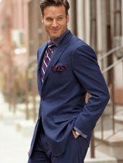 Italian Wool Solid Two-Button Peak Lapel Suit