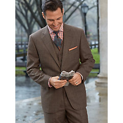 Brown Glen Plaid Pure Wool Suit $350.00 AT vintagedancer.com