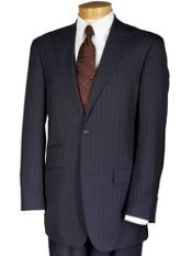 Wool Blend Two-Button Peak Lapel Striped Suit