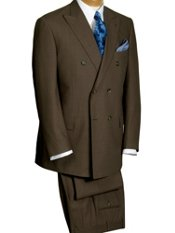100% Wool Double-Breasted Peak Lapel Houndstooth Suit