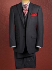 100% Wool Flannel Two-Button Vested Suit