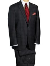 100% Wool Two-Button Plaid Suit
