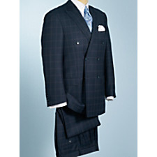100% Wool Double-Breasted Windowpane Suit