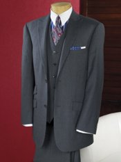 100% Wool Flannel Stripe Two Button Peak Lapel Suit