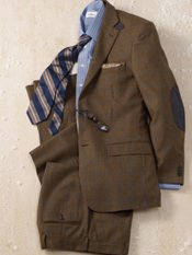 100% Wool Flannel Houndstooth Two Button Notch Lapel Suit