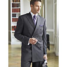 100% Wool Stripe Double Breasted Peak Lapel Suit
