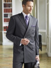 100% Wool Stripe Double Breasted Peak Lapel Suit