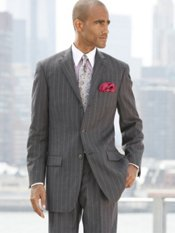 100% Wool Flannel Stripe Three Button Notch Lapel Suit