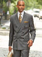 100% Wool Herringbone Double Breasted Notch Lapel Suit