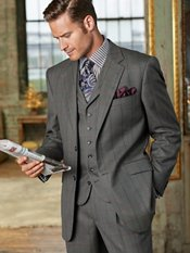 100% Wool Windowpane Two-Button Notch Lapel Suit