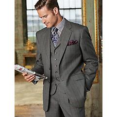 100% Wool Windowpane Two-Button Notch Lapel Suit