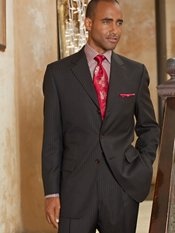 100% Wool Stripe Three-Button Notch Lapel Suit