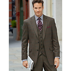 Olive with Wine  Hunter Green Windowpane Pure Wool Suit $480.00 AT vintagedancer.com