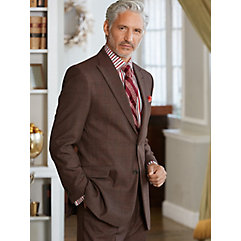 Brown Windowpane Pure Wool Suit $410.00 AT vintagedancer.com