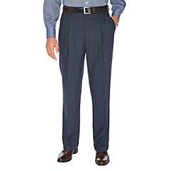 Easy1940sMen8217sFashionGuide Navy Stripe Pure Wool Pleated Suit Separate Pants $110.00 AT vintagedancer.com