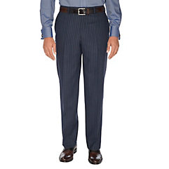 1950sStyleMensClothing Navy Stripe Pure Wool Flat Front Suit Separate Pants $110.00 AT vintagedancer.com