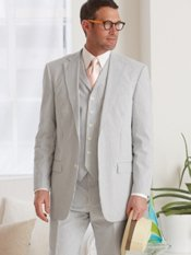100% Cotton Seersucker Two-Button Notch Lapel Suit Separate Jacket