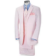 100% Cotton Seersucker Two-Button Notch Lapel Suit Separate Jacket