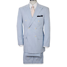 100% Cotton Seersucker Double-Breasted Peak-Lapel Suit Separate Jacket